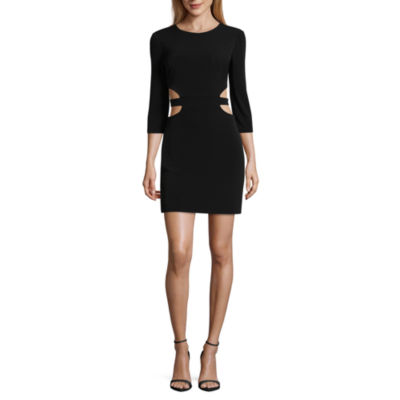 City Triangle Elbow Sleeve Cut Outs Bodycon Dress-Juniors