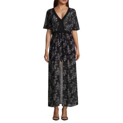 My Michelle Long Sleeve Floral Maxi Dress-Juniors