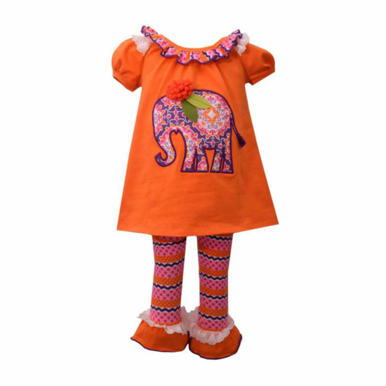 Bonnie Jean 2-pc.Short Sleeve Orange Elepahant Legging Set-Baby Girls