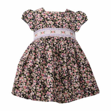 Bonnie Jean Short Sleeve Smocked Floral DressDress - Baby Girls
