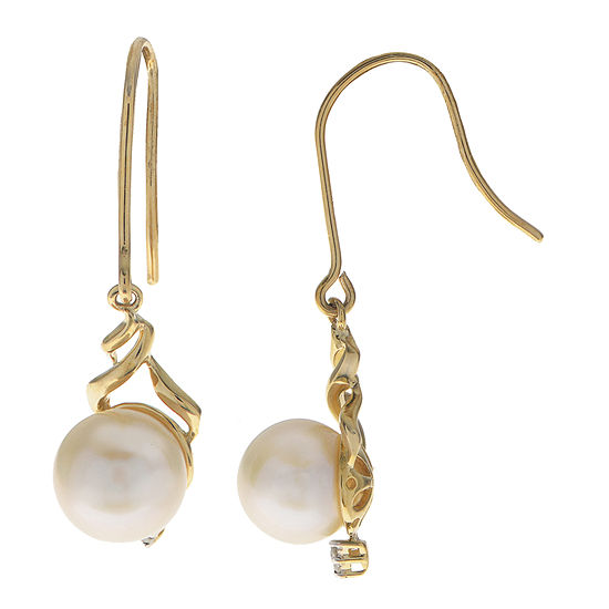 Diamond Accent Genuine White Cultured Freshwater Pearl 10K Gold Drop Earrings