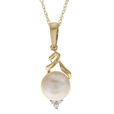 Womens Diamond Accent Genuine White Cultured Freshwater Pearl 10K Gold Pendant Necklace