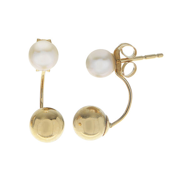 Genuine White Cultured Freshwater Pearl 10K Gold Drop Earrings