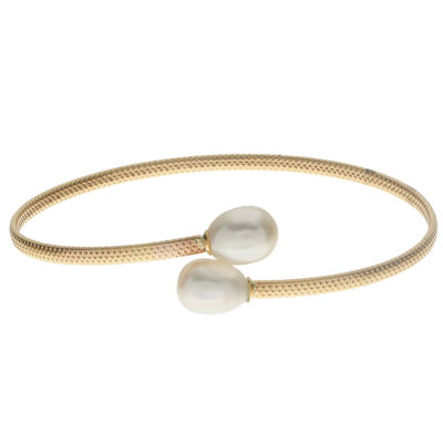 Genuine White Cultured Freshwater Pearl 10K Gold Bangle Bracelet