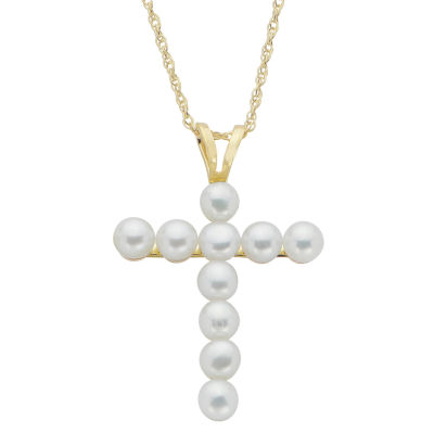 Womens Genuine White Cultured Freshwater Pearl 10K Gold Cross Pendant Necklace