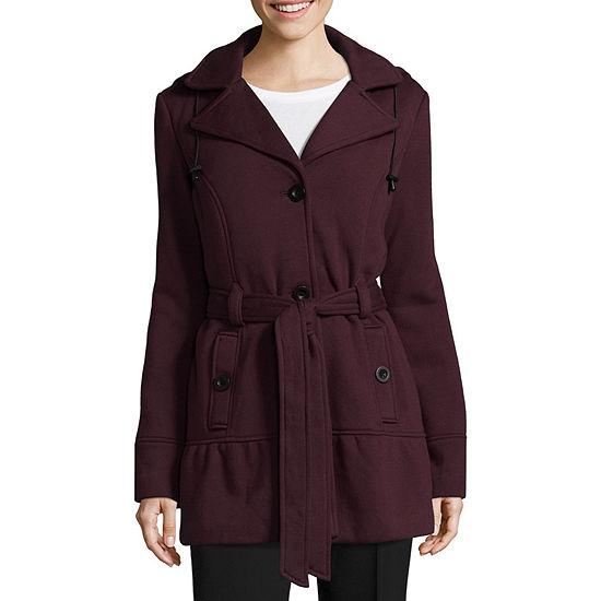 Liz Claiborne Fleece Belted Lightweight Trench Coat