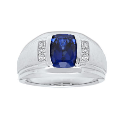 Mens Sterling Silver Lab Created Cushion Cut Blue Sapphire Ring