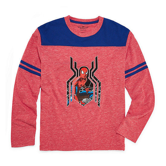 Boys Crew Neck Long Sleeve Spiderman Graphic T-Shirt - Big Kid
