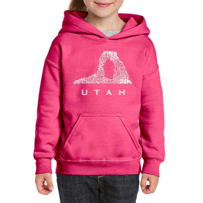 Los Angeles Pop Art Utah Long Sleeve Girls Word Art Hoodie