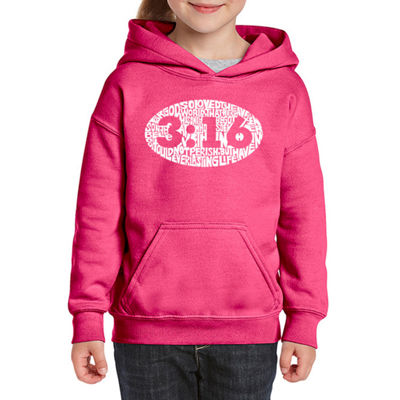 Los Angeles Pop Art John 3:16 Long Sleeve Girls Word Art Hoodie