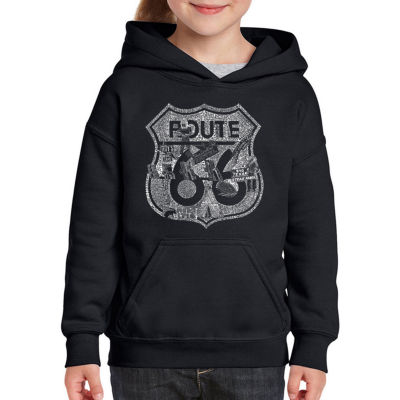 Los Angeles Pop Art Stops Along Route 66 Long Sleeve Girls Word Art Hoodie