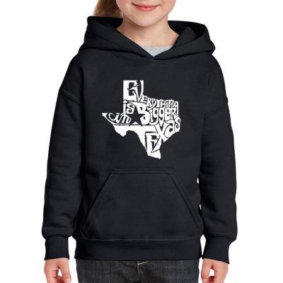 Los Angeles Pop Art Everything Is Bigger In Texas Long Sleeve Sweatshirt Girls
