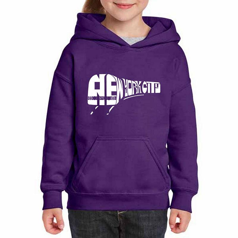 Los Angeles Pop Art Ny Subway Long Sleeve Sweatshirt Girls, Sweatshirts, Purple, Size Large, Purple | JCPenney
