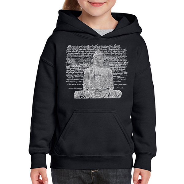 Los Angeles Pop Art Zen Buddha Long Sleeve Girls Word Art Hoodie