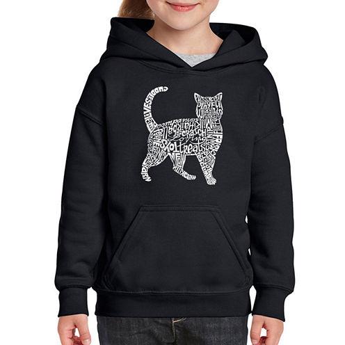 Los Angeles Pop Art Cat Long Sleeve Sweatshirt Girls