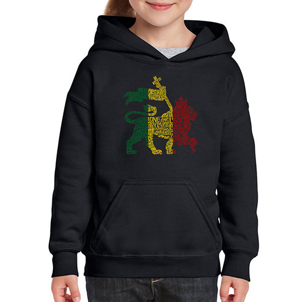 Los Angeles Pop Art Rasta Lion - One Love Long Sleeve Girls Word Art Hoodie