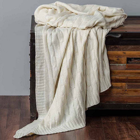 Rizzy Home Classic Cable Knit With Foil Print Knit Reversible Throw
