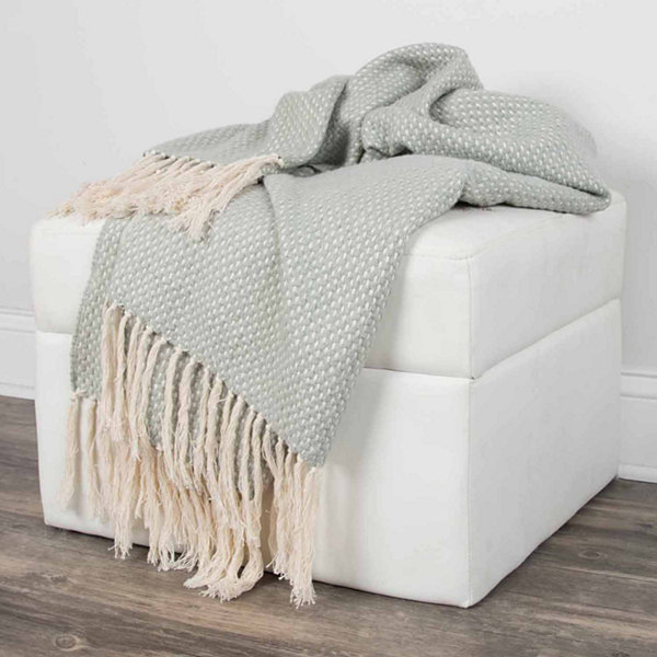 Rizzy Home Cross Weave Pattern Reversible Throw