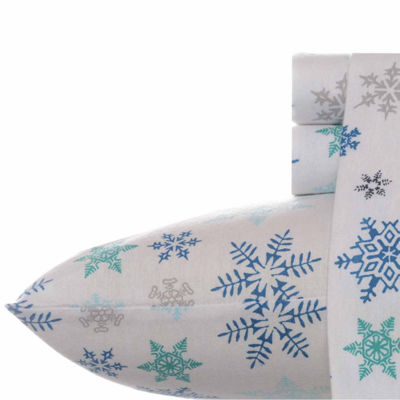 Eddie Bauer® Tossed Snowflake Easy Care Flannel Sheet Set