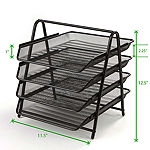 Mind Reader 4-Tier Steel Mesh Paper Tray Desk Organizer