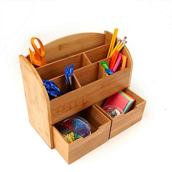 Mind Reader 6-Compartment with 2 Drawers, Eco-Friendly Desk Organizer