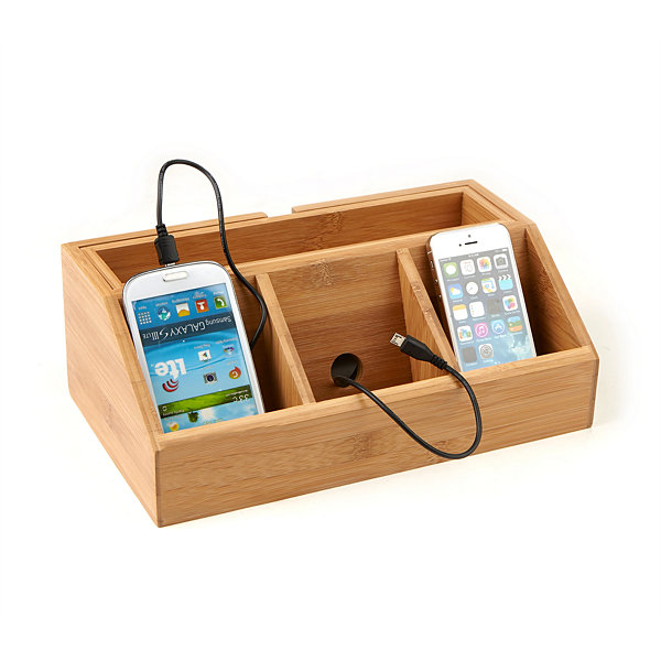 Mind Reader 3-Component Bamboo Charging Station and Desk Organizer