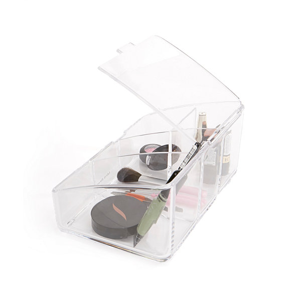 Mind Reader Acrylic Cosmetic Organizer With Flap