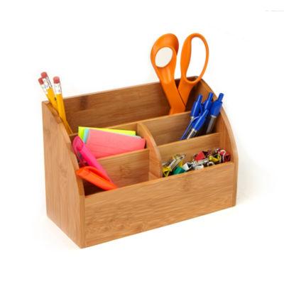 Mind Reader Bamboo 5-Compartment Desk Organizer