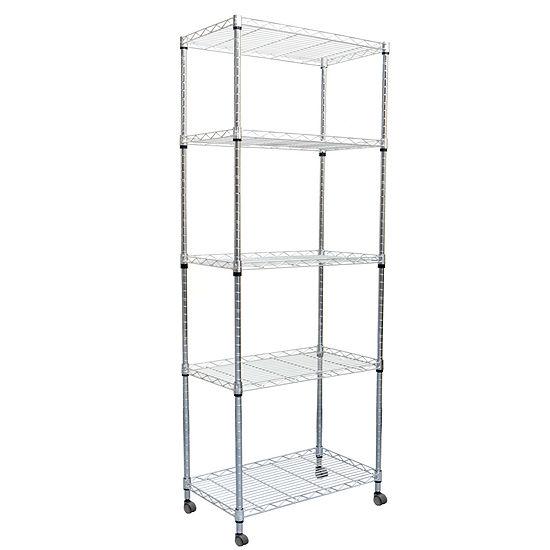 Mind Reader 4-Tier Metal Storage Rack With Wheels
