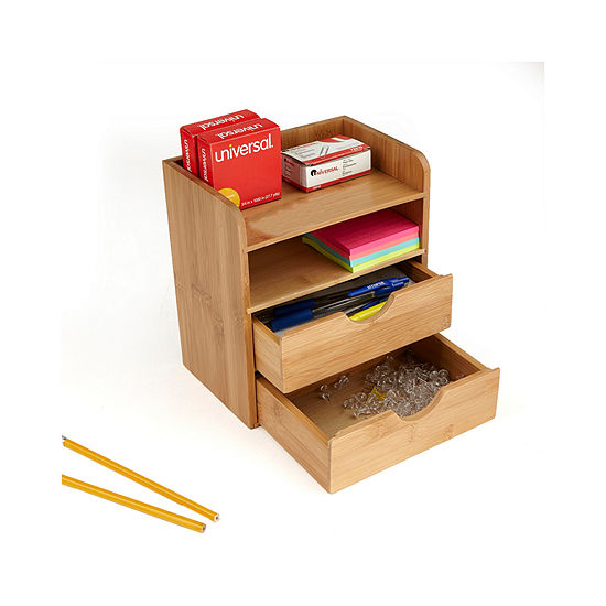 Mind Reader Bamboo Eco-Friendly 4 Tier Desk Organizer with 2 Drawers,