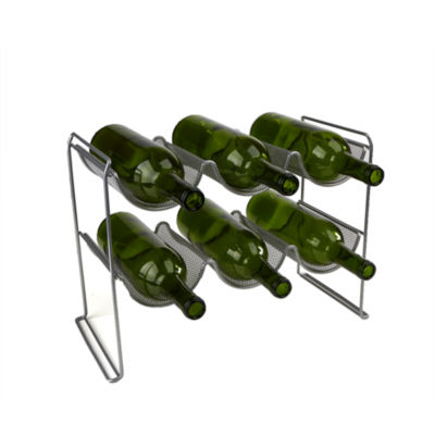 Mind Reader 2-Tier 6-Bottle Stackable Mesh Wine Rack
