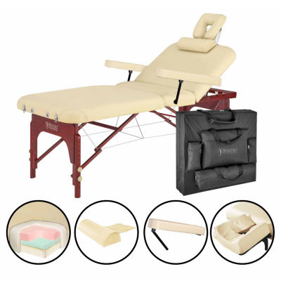 "Master® Massage 31"" SpaMaster Pro Salon Tilt Portable Massage Table Beauty Bed in Cream"