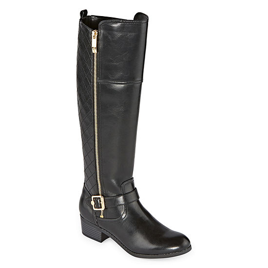 Liz Claiborne Womens Torcello Stacked Heel Riding Boots