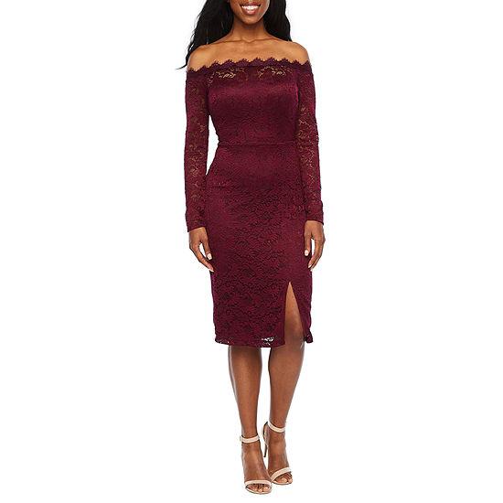 Premier Amour Off The Shoulder Lace Sheath Dress
