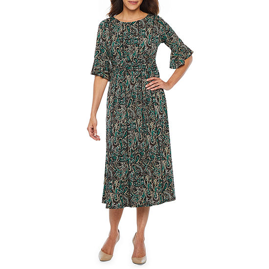 Perceptions 3/4 Bell Sleeve Paisley Fit & Flare Dress-Petite