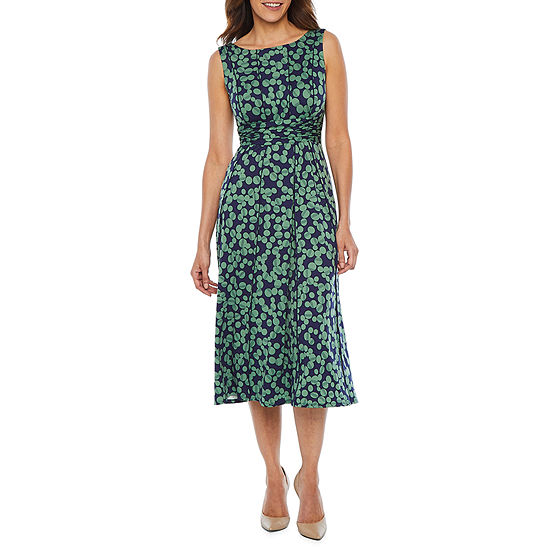 Perceptions-Petite Sleeveless Dots Midi Fit & Flare Dress