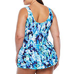 Azul by Maxine of Hollywood Abstract Swim Dress Plus