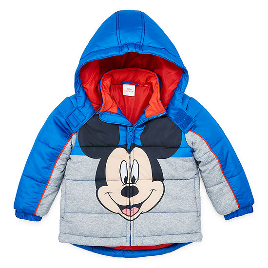 Disney Boys Outerwear Toddler Boys Mickey Mouse Hooded Heavyweight Puffer Jacket