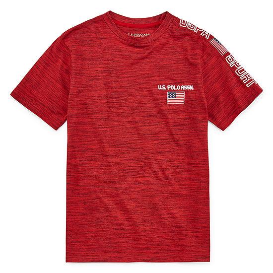 U.S. Polo Assn. Boys Crew Neck Short Sleeve Graphic T-Shirt - Big Kid