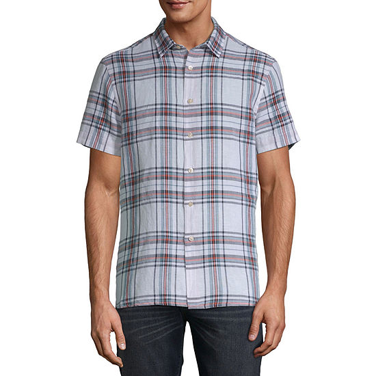 Axist Mens Short Sleeve Plaid Button-Front Shirt