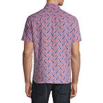 Axist Mens Short Sleeve Paisley Button-Front Shirt