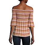 Rewind-Juniors Womens Straight Neck Elbow Sleeve Knit Blouse