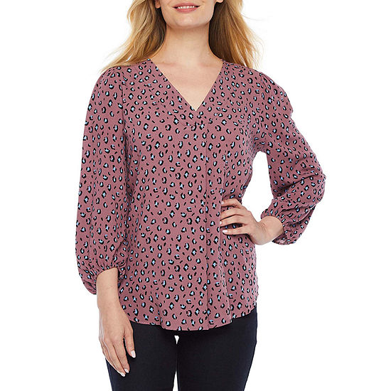 a.n.a Womens V Neck 3/4 Sleeve Tunic Top-Petite