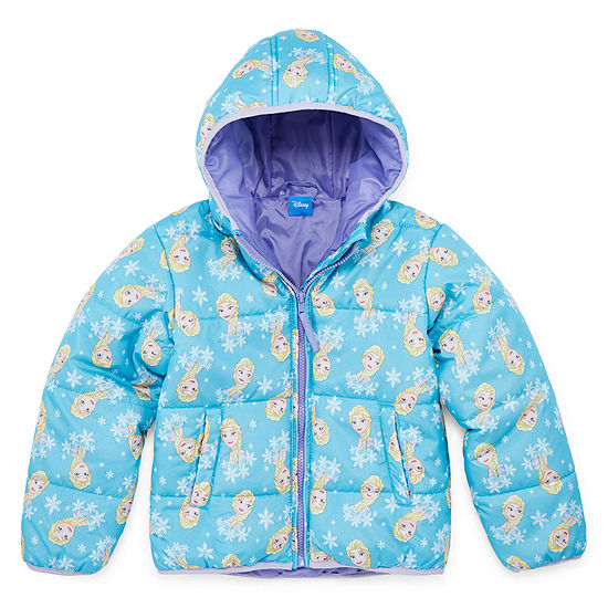 Disney Collection Toddler Girls Frozen Hooded Heavyweight Puffer Jacket