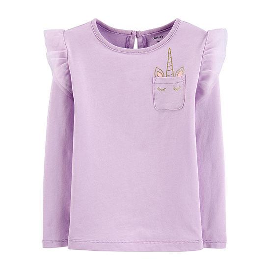 Carter's Toddler Girls Crew Neck Long Sleeve Graphic T-Shirt