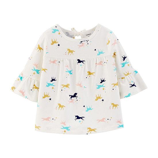 Carter's Girls Crew Neck Elbow Sleeve Graphic T-Shirt-Toddler
