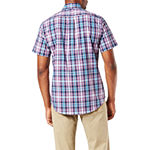 Dockers Comfort Flex Stretch Mens Short Sleeve Geometric Button-Front Shirt