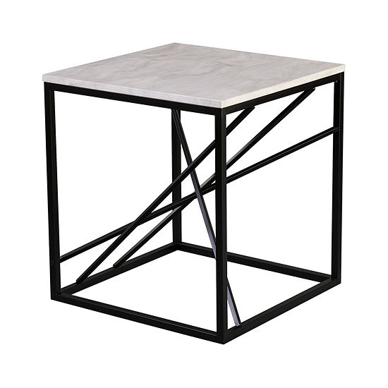 Tracarl Faux Marble End Table