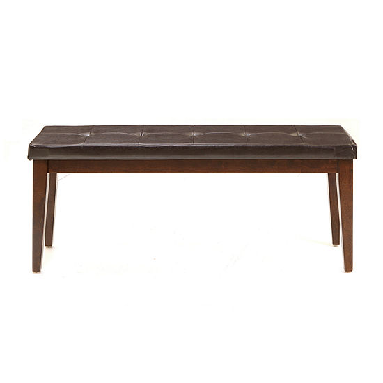Landry Tufted Faux-Leather Bench