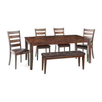 Landry 6-pc. Extendable Dining Set with 4 Ladderback Chairs and Bench